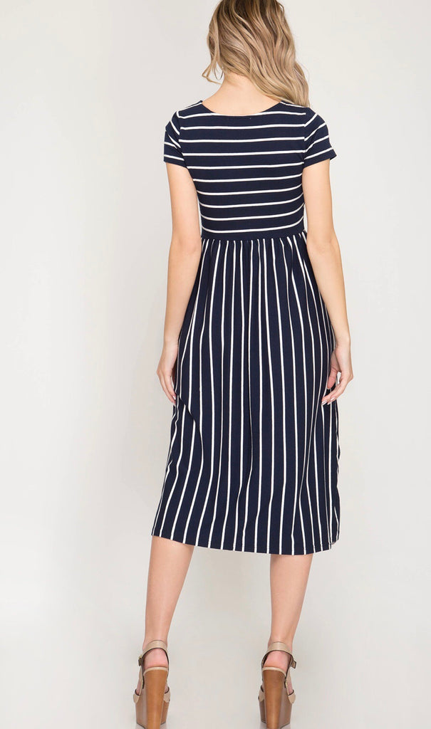 Navy Striped Midi Dress