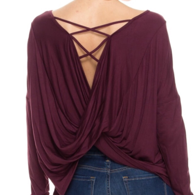 Plum Back Crossover Drape Top
