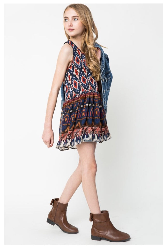 Mixed Print Tank Dress