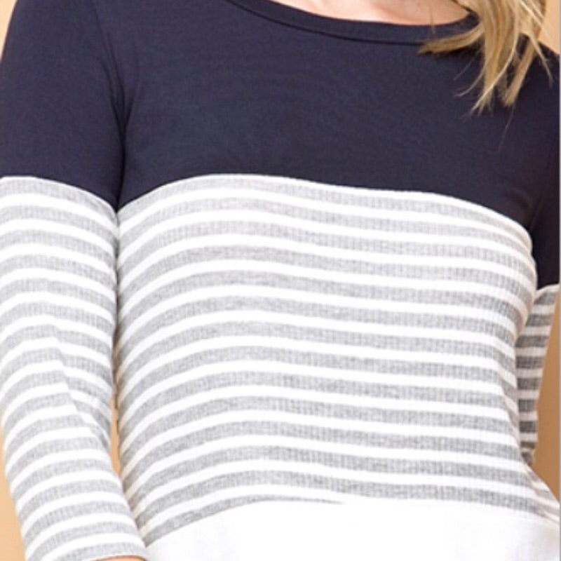 Striped Colorblock 3/4 Sleeve Top - Navy