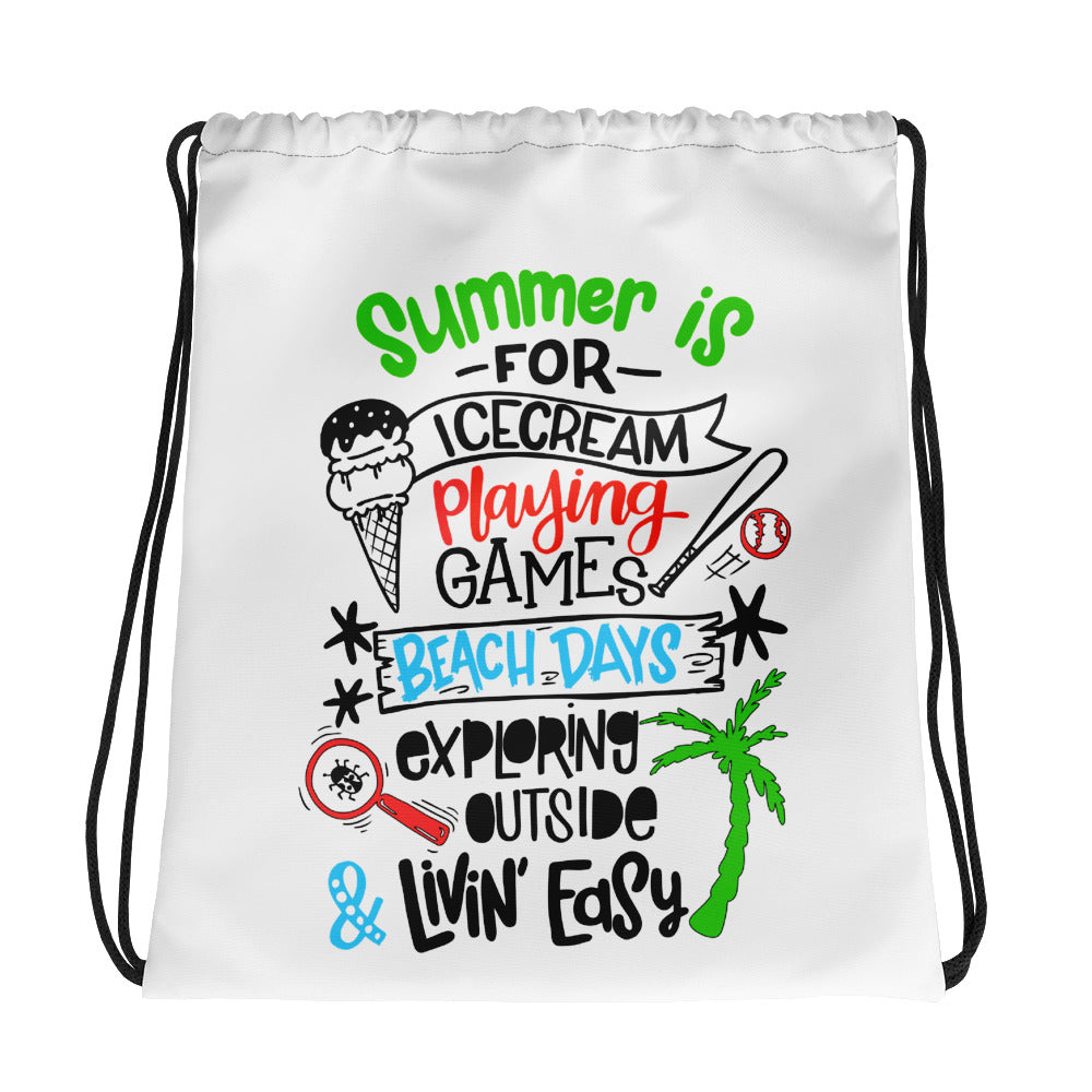 Summer Ice Cream Playing Ball Beach Days Exploring Drawstring bag