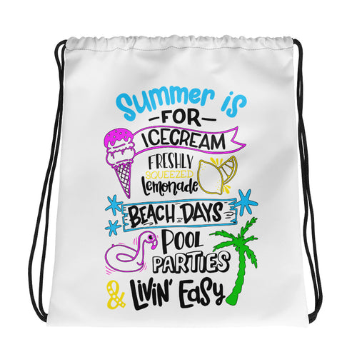 Summer Ice Cream Lemonade Beach Days Pool Parties Drawstring bag