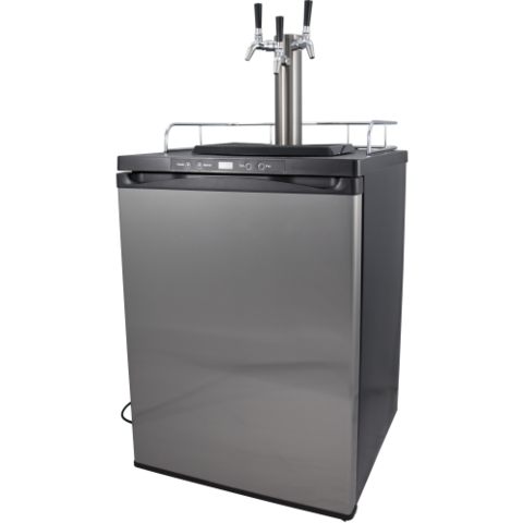 Kegmaster 4 Kegerator - Stainless Steel Door Keg Fridge with Triple Tap Tower and Intertap Faucets