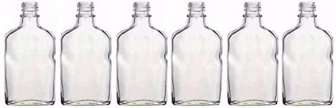 Case of 6 - Glass Flask Bottles - Clear - 200 ml