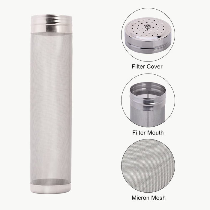 Dry Hopping Keg Canister - 400 Micron Hop Filter w/Removable Lid (5 gallon Keg)