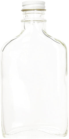 Case of 6 - Glass Flask Bottles - Clear - 200 ml with White 28mm Metal Screw Caps