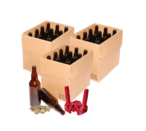 Glass Beer Bottles (Brown - 12 x 660 ml), Emily Capper and Gold Crown Caps (144)