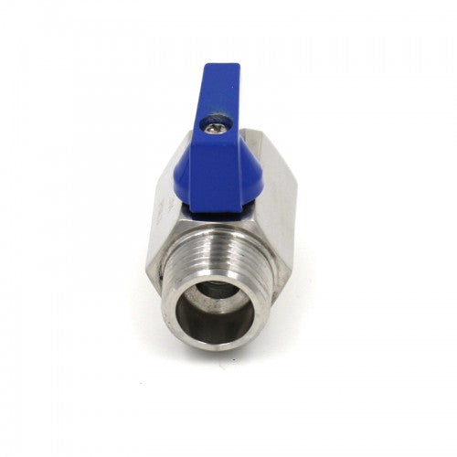 "Stainless Steel 1/2"" Mini Ball Valve - Male 1/2"" MPT x Female 1/2"" FPT"