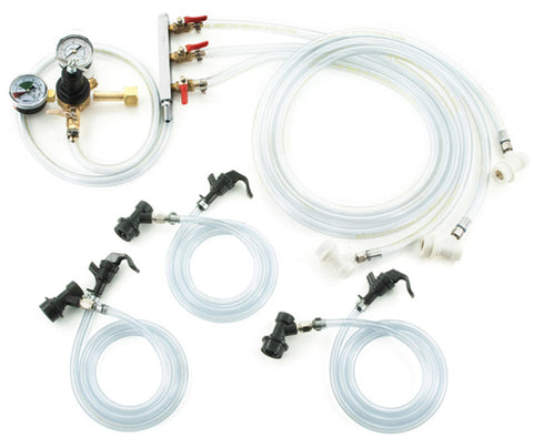 Homebrew Kegging Kit Ball Lock with 3-Way Manifold and Picnic Faucets