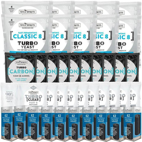 Still Spirits Triple Pack - Turbo Yeast CLASSIC 8, Turbo Carbon and Turbo Clear (Pack of 10) with EZ Filter 10 Pack