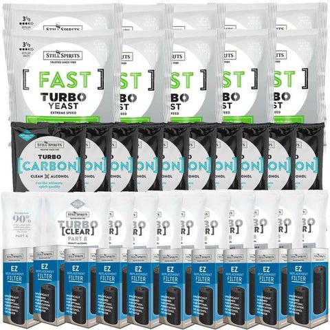 Still Spirits Triple Pack - Turbo Yeast FAST, Turbo Carbon and Turbo Clear (Pack of 10) with EZ Filter 10 Pack