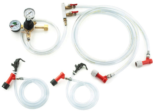 Homebrew Kegging Kit Pin Lock with 2-Way Manifold and Picnic Faucets