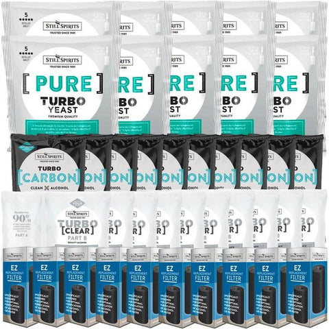 Still Spirits Triple Pack - Turbo Yeast PURE, Turbo Carbon and Turbo Clear (Pack of 10) with EZ Filter 10 Pack