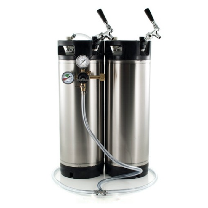 Basic Ball Lock Homebrew Kegging Kit for Two 5 Gallon Cornelius Kegs with Faucet Adapter, and Regulator
