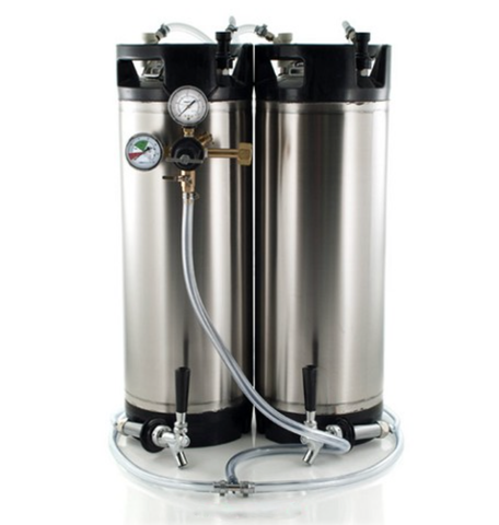 Basic Ball Lock Homebrew Kegging Kit for Two 5 Gallon Cornelius Kegs with Beer Shanks, Regulator