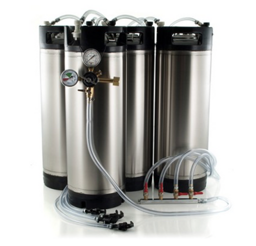 Basic Ball Lock Homebrew Kegging Kit for Four 5 Gallon Cornelius Kegs with Picnic Taps, 4 Way Gas Manifold, and Dual Gauge Regulator