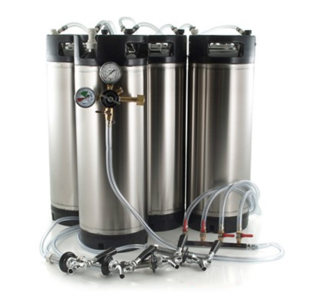 Basic Ball Lock Homebrew Kegging Kit for Four 5 Gallon Cornelius Kegs with Beer Shanks, 4 Way Gas Manifold, and Dual Gauge Regulator