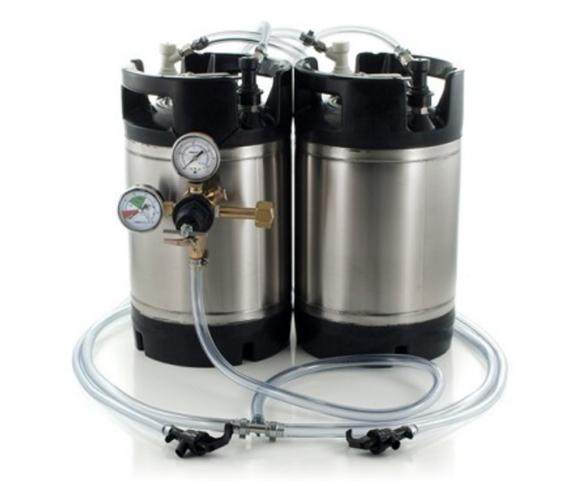 Basic Ball Lock Homebrew Kegging Kit for Two 3 Gallon Cornelius Kegs with Picnic Taps, and Dual Gauge Regulator