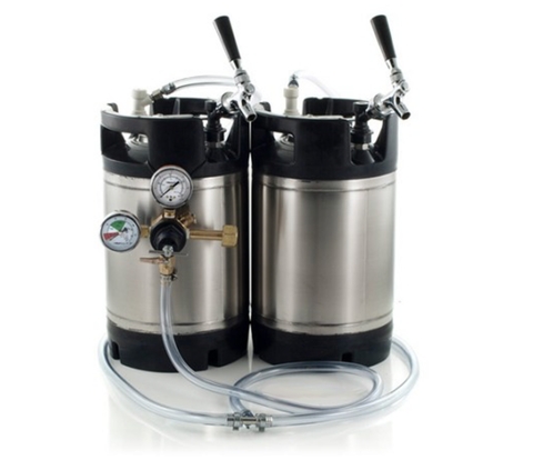 Basic Ball Lock Homebrew Kegging Kit for Two 2.5 Gallon Cornelius Kegs with Faucet Adapter and Regulator