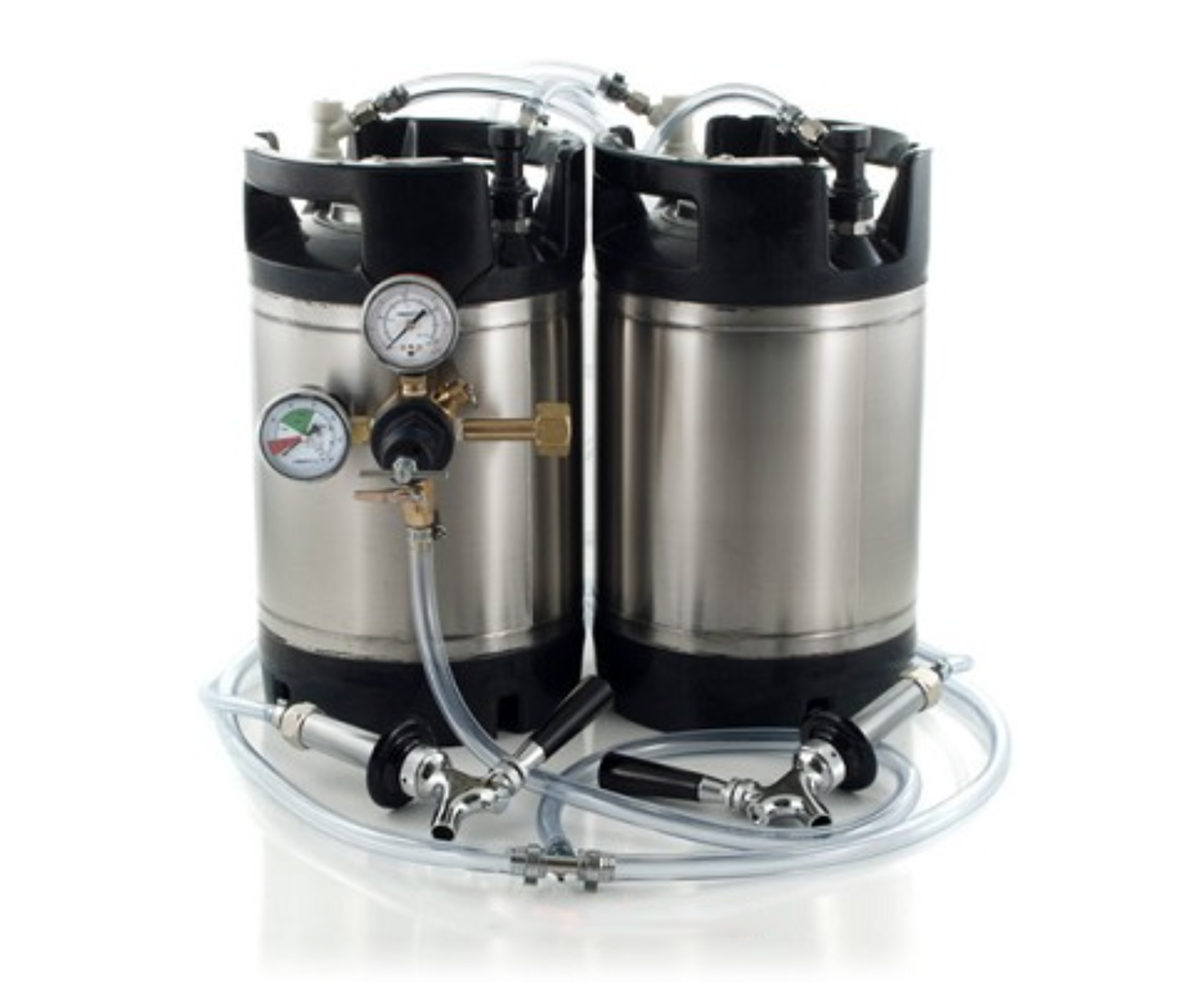 Basic Ball Lock Homebrew Kegging Kit for Two 2.5 Gallon Cornelius Kegs with Beer Shanks, and Regulator