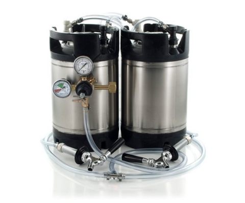 Basic Ball Lock Homebrew Kegging Kit for Two 3 Gallon Cornelius Kegs with Beer Shanks, and Regulator