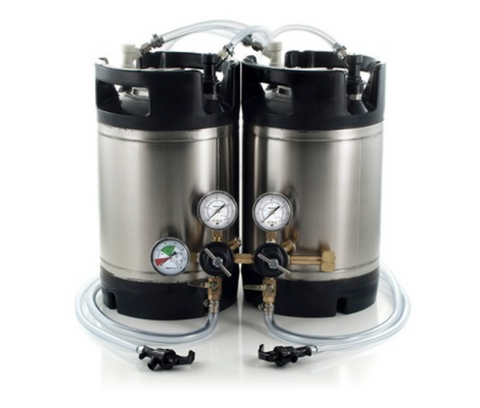 Basic Ball Lock Homebrew Kegging Kit for Two 2.5 Gallon Cornelius Kegs with Picnic Taps, and Dual Product Regulator