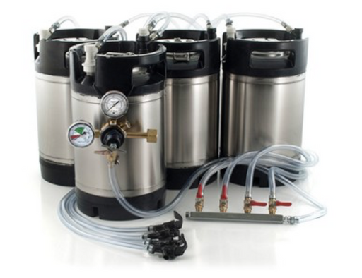 Basic Ball Lock Homebrew Kegging Kit for Four 3 Gallon Cornelius Kegs with Picnic Taps, 4 Way Gas Manifold, and Dual Gauge Regulator