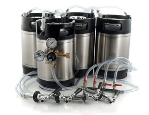 Basic Ball Lock Homebrew Kegging Kit for Four 3 Gallon Cornelius Kegs with Beer Shanks, 4 Way Gas Manifold, and Dual Gauge Regulator