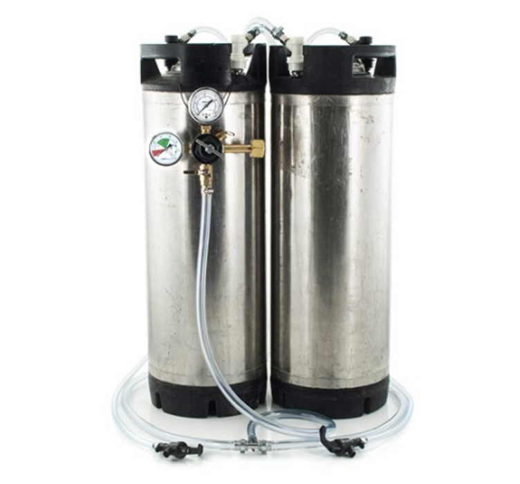 Basic Ball Lock Homebrew Kegging Kit for Two USED 5 Gallon Cornelius Kegs with Picnic Taps, and Regulator
