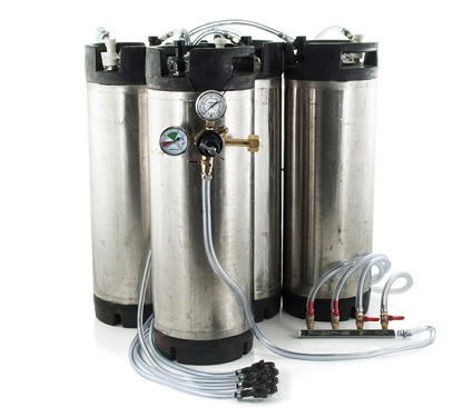 Basic Ball Lock Homebrew Kegging Kit for Four 5 Gallon Cornelius Kegs (USED) with Picnic Taps, 4 Way Gas Manifold, and Dual Gauge Regulator