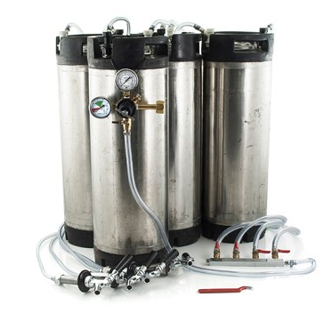 Basic Ball Lock Homebrew Kegging Kit for Four 5 Gallon Cornelius Kegs (USED) with Beer Shanks, 4 Way Gas Manifold, and Dual Gauge Regulator
