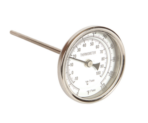 "Stainless Steel 1/2"" NPT Thermometer 6"" Probe"