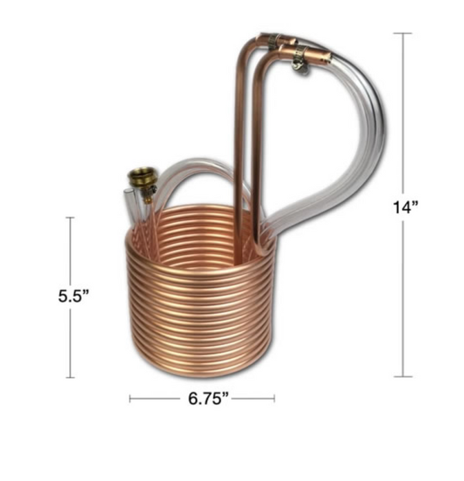 "Copper Immersion Wort Chiller with Vinyl Tubing (25' x 3/8"")"