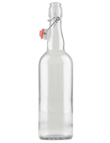 Case of 12 - Swingtop Flip Top Glass Bottles - Clear - 750 ml