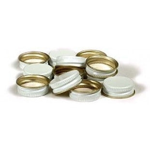 Metal Oxygen Barrier Screw Cap for 28mm Bottles and Flasks - White (144 Count)