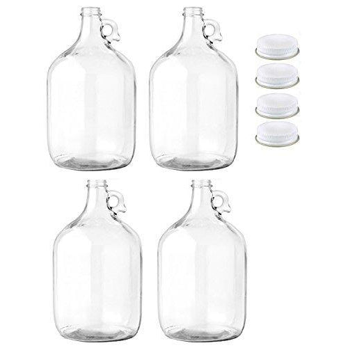 Carboy - 1 Gallon Clear Glass Jug Fermenter with Metal 38mm Screw Cap (Pack of 4) - Toronto Brewing