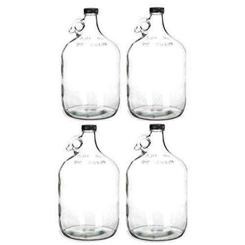 Carboy - 1 Gallon Clear Glass Jug Fermenter with Polyseal 38mm Screw Cap (Pack of 4) - Toronto Brewing