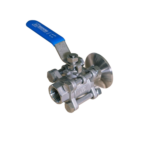 "SS Brewtech 3 Piece Ball Valve - 1.5"" Tri-Clamp x 1/2"" Female NPT"