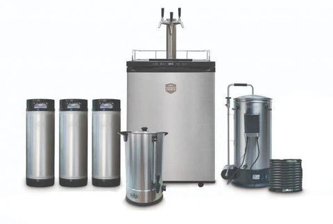 The Grainfather and Sparge Water Heater + 3 Tap Kegmaster Kegerator and Ball Lock Kegs