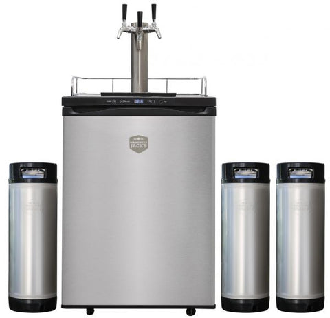 Kegmaster 4 Kegerator - Stainless Steel Door Keg Fridge with Triple Tap Tower and Ball Lock Kegs