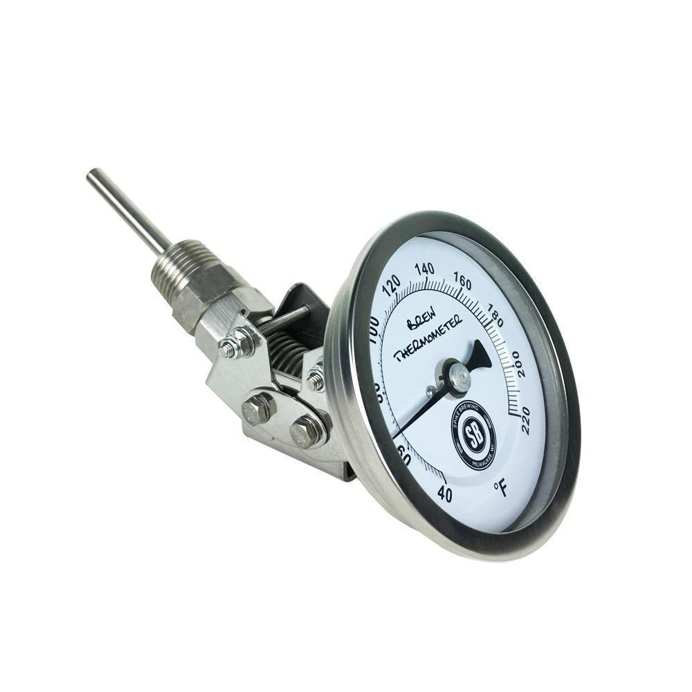 "Stainless Steel 1/2"" Male NPT Adjustable Thermometer with 3"" Face 