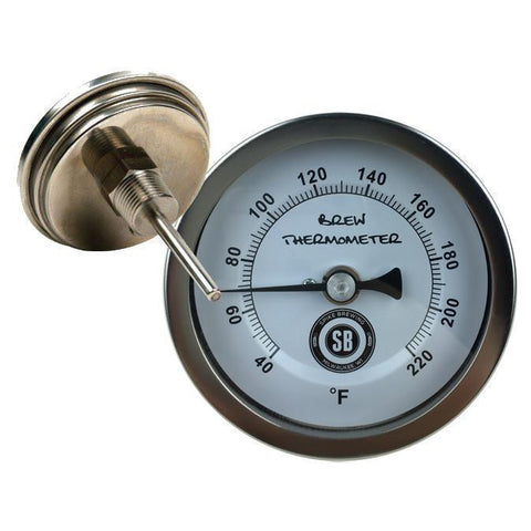 "Stainless Steel 1/2"" Male NPT Non-Adjustable Thermometer with 3"" Face 