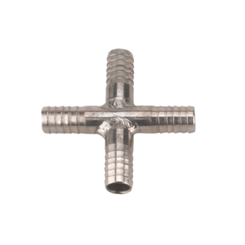 "Stainless Steel Gas Line Cross Splitter 1/4"" OD - Toronto Brewing"