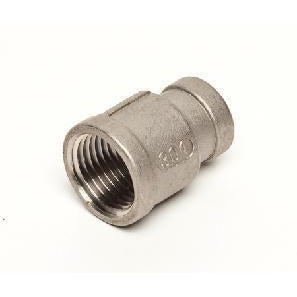 "Stainless Steel Reducing Coupler - 1/2"" Female NPT x 3/8"" Female NPT - Toronto Brewing"
