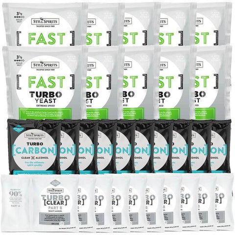 Still Spirits Triple Pack - Turbo Yeast FAST, Turbo Carbon and Turbo Clear (Pack of 10) - Toronto Brewing
