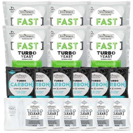 Still Spirits Triple Pack - Turbo Yeast FAST, Turbo Carbon and Turbo Clear (Pack of 6) - Toronto Brewing