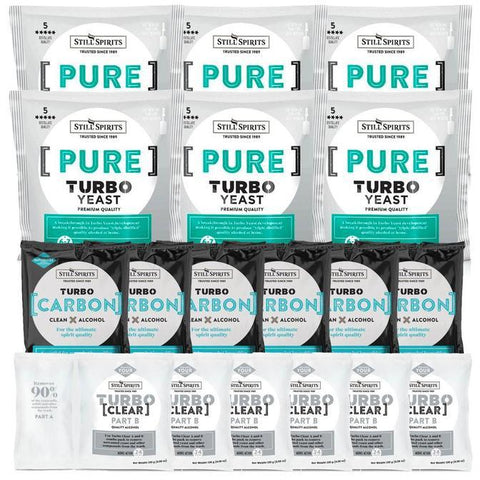 Still Spirits Triple Pack - Turbo Yeast PURE, Turbo Carbon and Turbo Clear (Pack of 6) - Toronto Brewing