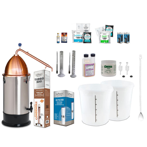 Still Spirits Turbo 500 with Copper Reflux Condenser and Copper Alembic Dome Deluxe Starter Pack