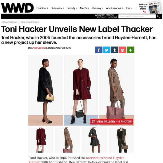 Thacker featured in Women's Wear Daily