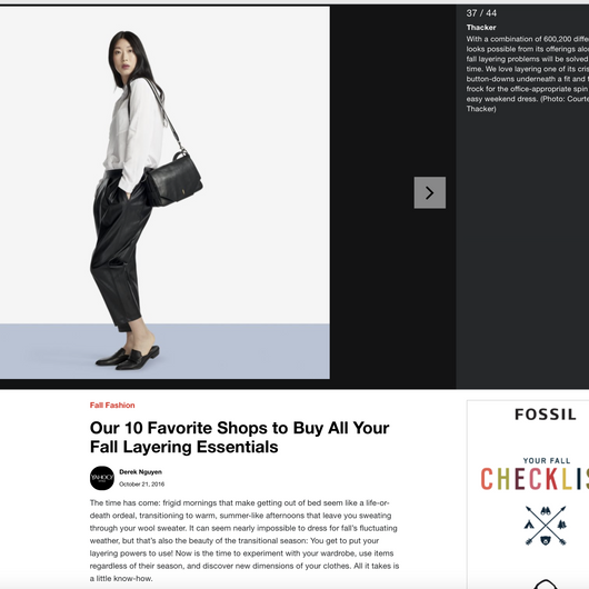 Thacker featured in Yahoo Style's '10 Favorite Shops for Fall Layering Essentials'